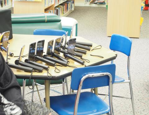 devices on library table