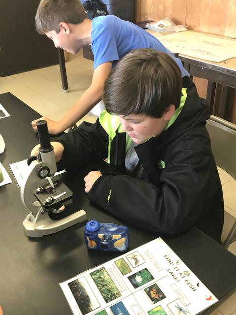 boy using microscope