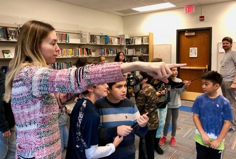 teacher pointing to where an image is placed in the room