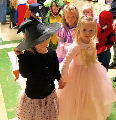 Students dressed as princess and witch