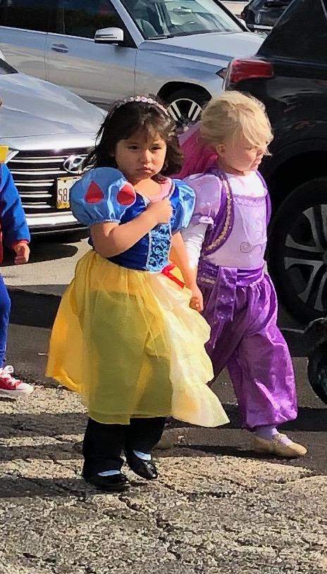 two girls dressed as princesses