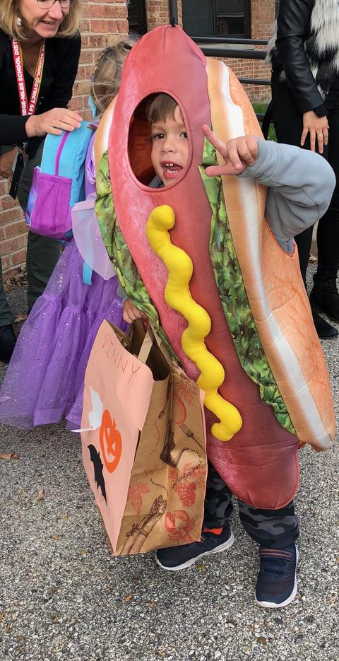 boy in hotdog costume