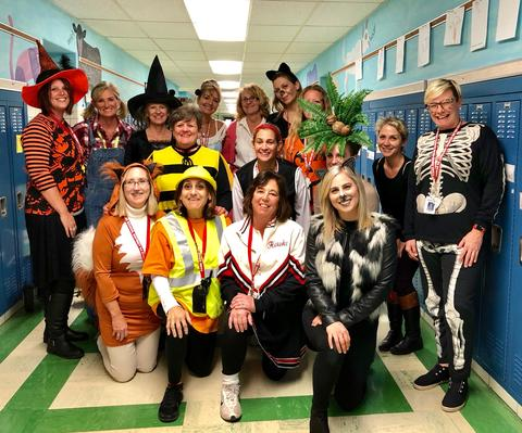 Jefferson staff pose for a halloween picture