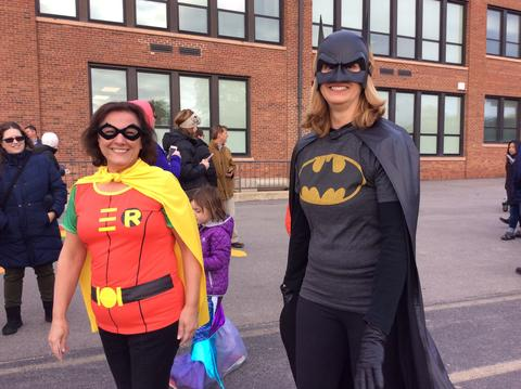 Staff dressed as batman and robin