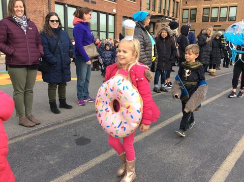 girl dressed as a donut