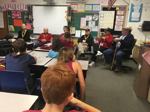 veterans sharing stories with class of students
