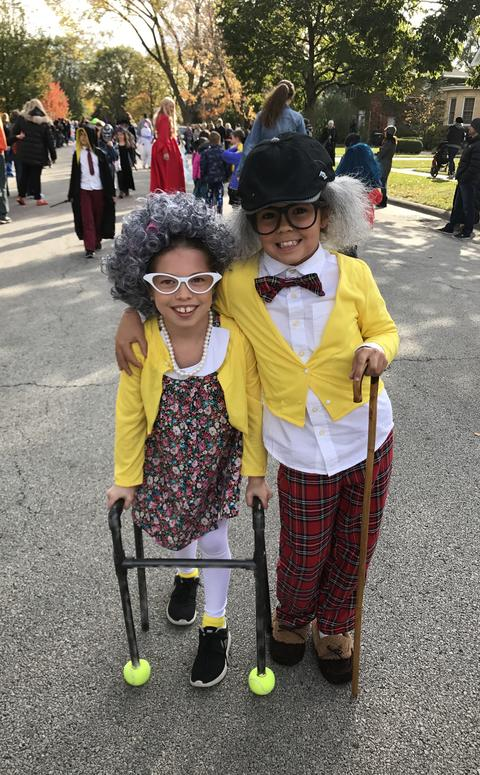 two student dressed up as old people