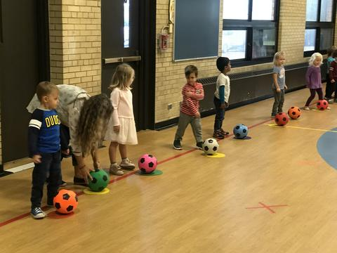 small students in gym with soccer balls