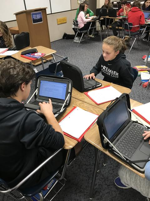 groups of students working together with their chromebooks