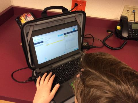 close up of chromebook screen during coding activity