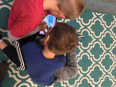 two boys on the rug coding