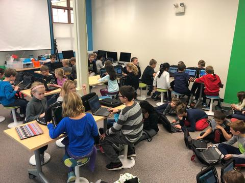 students coding in a new 21st century learning space