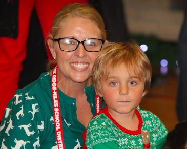 Mom and son waiting for Santa