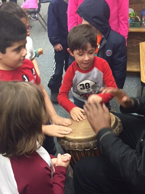 Children play drum