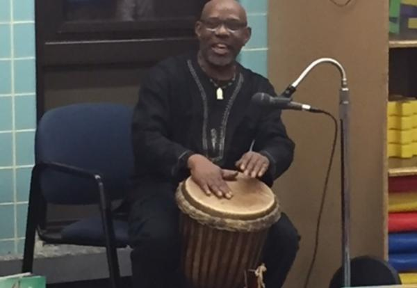 percussionist with microphone