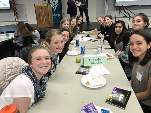 group of girls at lunch