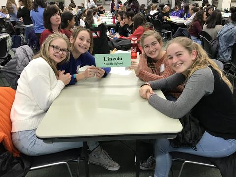 girls around a lunch table holding up school sign