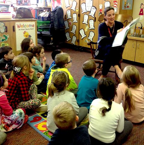 Dr. Heinz reading to first graders