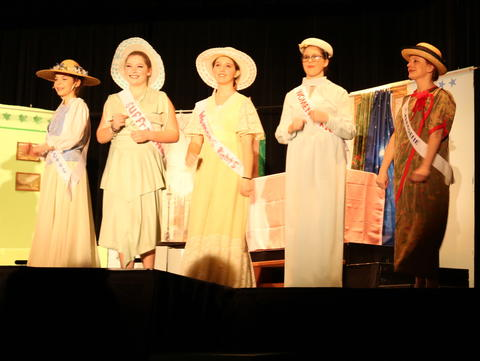 Half the suffragettes on stage
