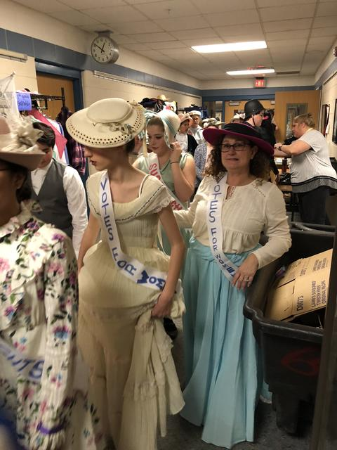 Suffragettes back stage