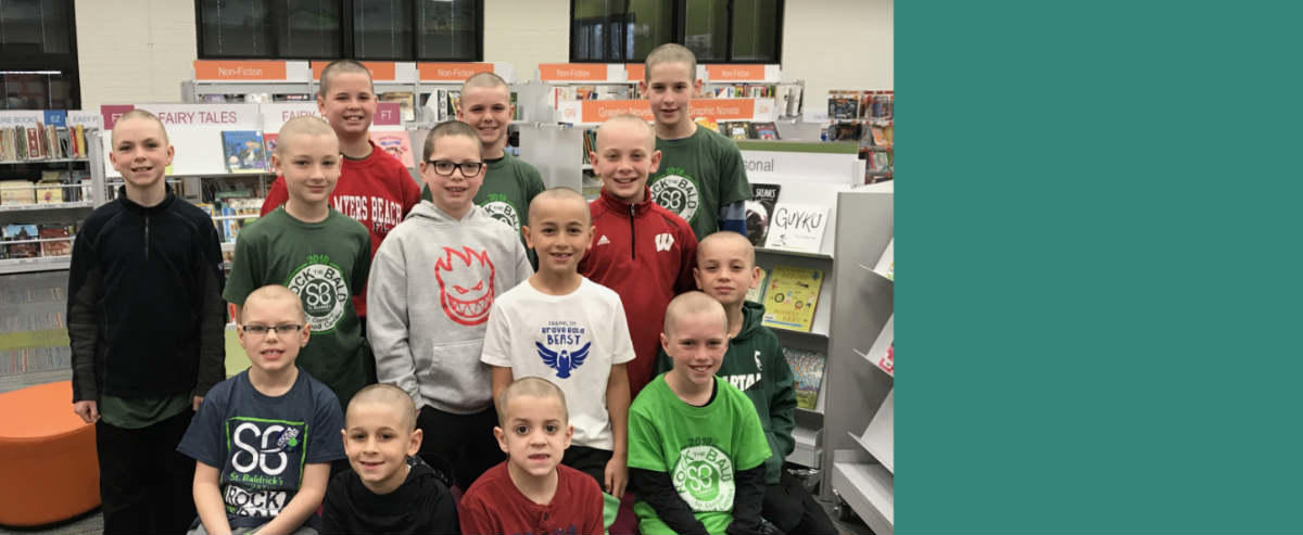 Group of students after St. Baldrick's event