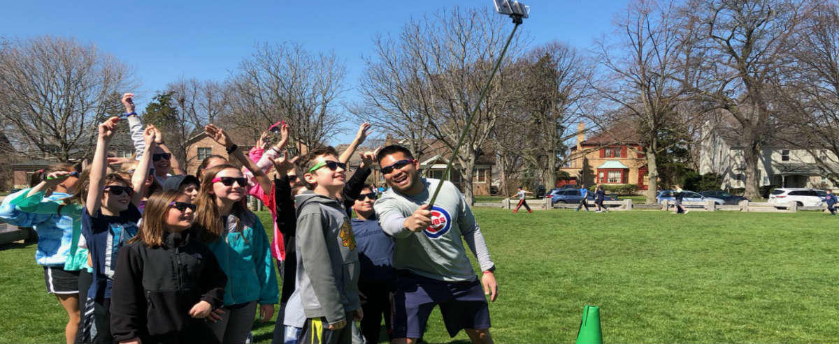 Students taking a selfie at walk-a-thon