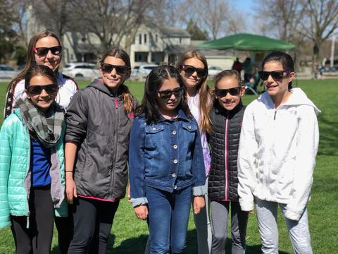 large groups of girls with sunglasses