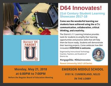 D64 Innovates! 21st Century Student Learning Showcase 2017-18