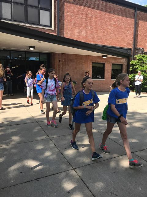5th graders leaving building on last day