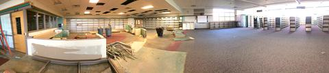 Panoramic view of LRC with Circulation desk partially gone