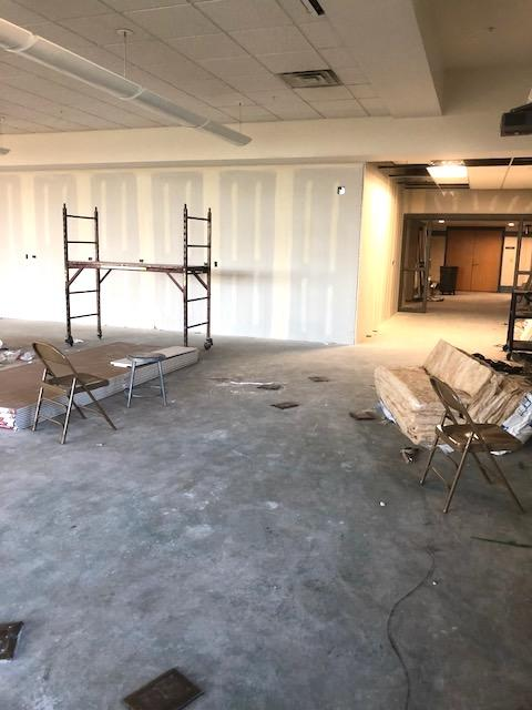 New classroom walls with drywall complete