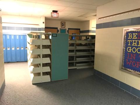 LRC shelves in hallway
