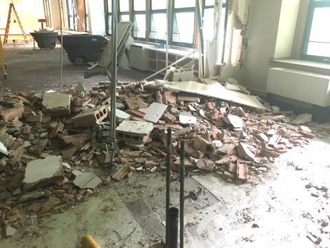 Debris from demo