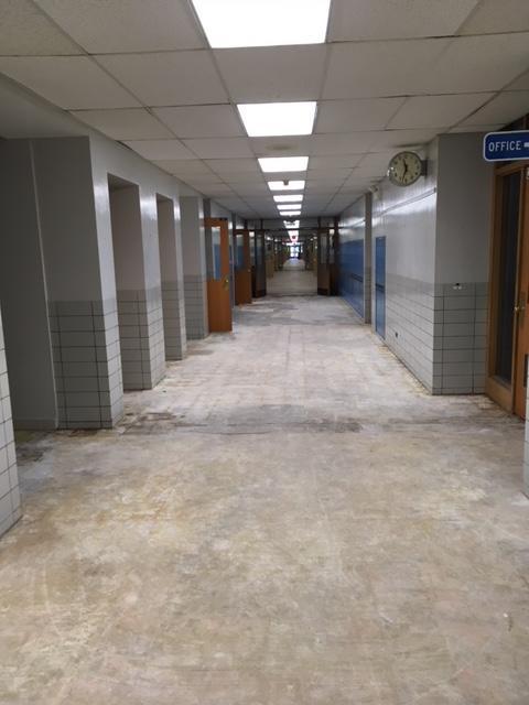 hallway after carpet torn up