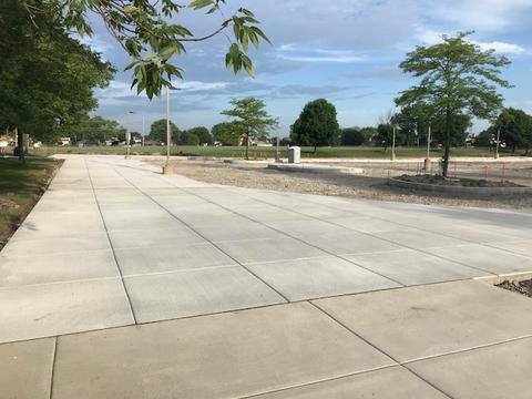 newly poured cement walkway