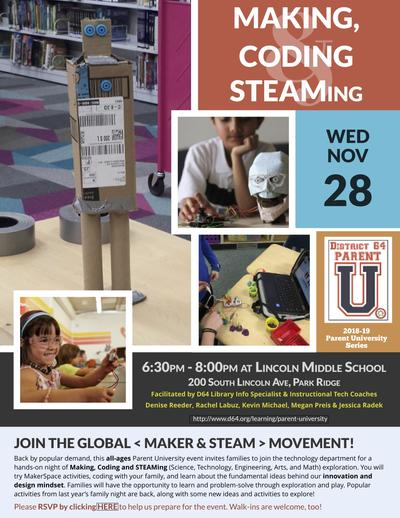 """Making, Coding, STEAMing"" flier"