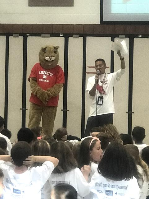 teacher and mascot