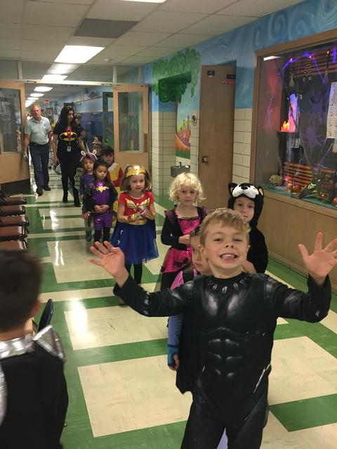 Kindergarten students excited about Halloween