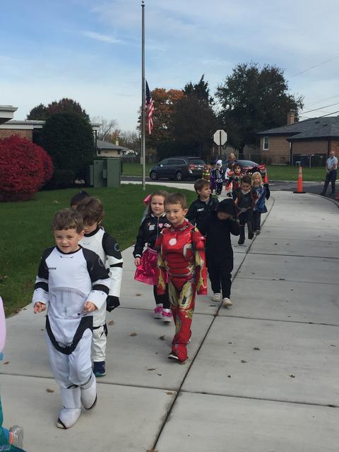 Kindergarten parade for Halloween