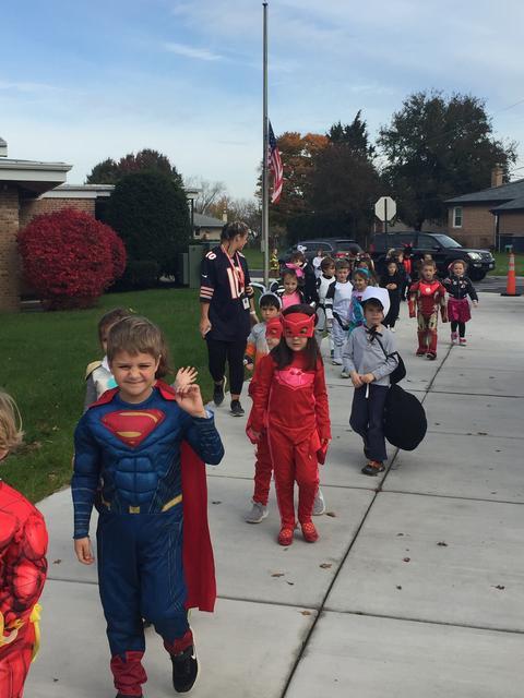 kindergarten students in Halloween parade