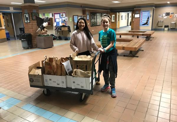 Students with cart of food