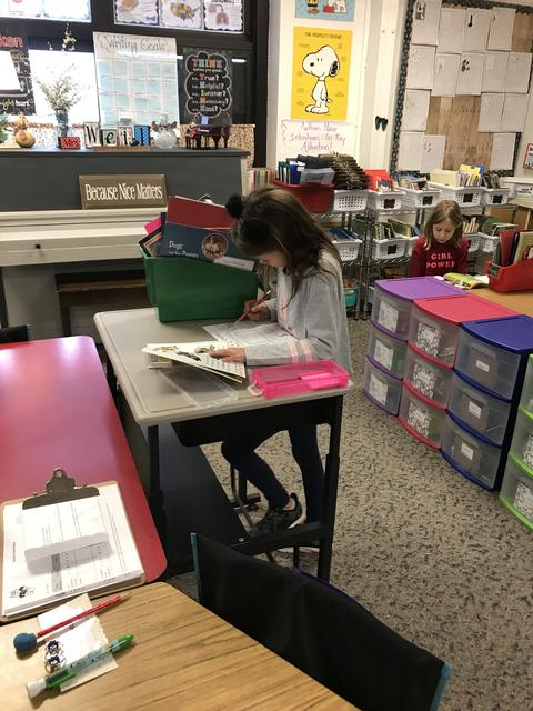 girl reading at stand up desk