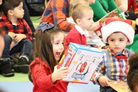 Excitement when getting gift from Santa