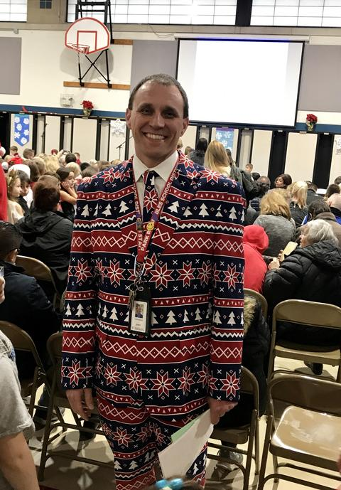 Principal Bednar in christmas suit