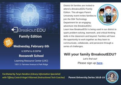 Brochure for Breakout EDU: Family Edition