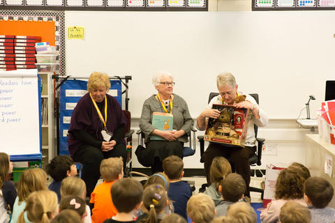 retired teachers presenting to students