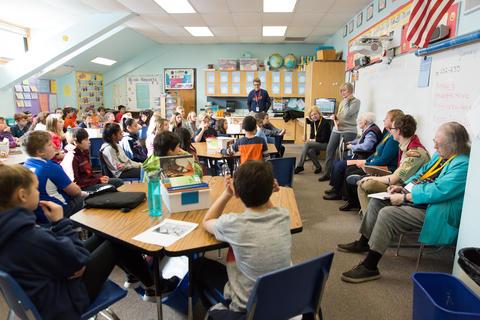 full view of classroom presentation