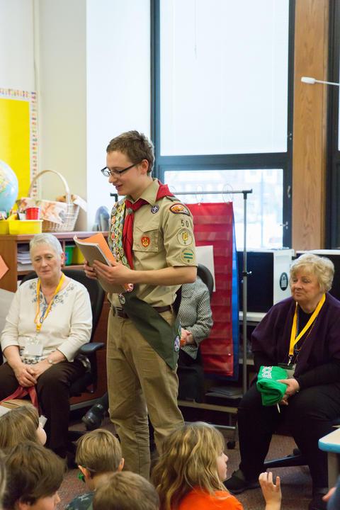 Scout alumni addressing students
