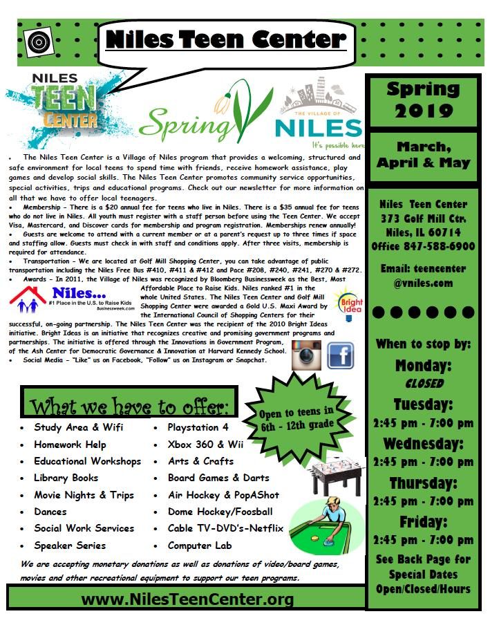 Niles Teen Center News