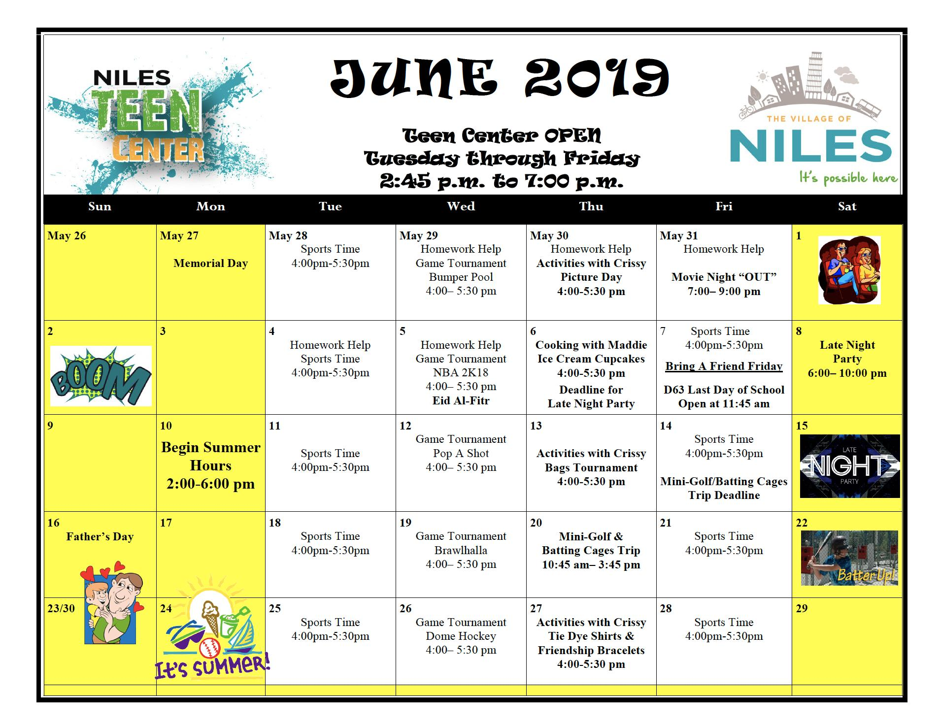 Niles Teen center summer calendar